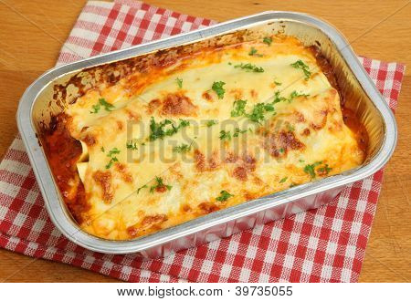 Lasagna convenience meal in foil tray