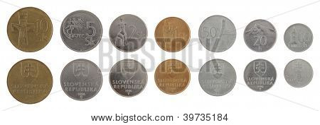 Old Slovak koruna coins isolated on white