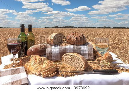 Bread And Wine In A Wheatfield