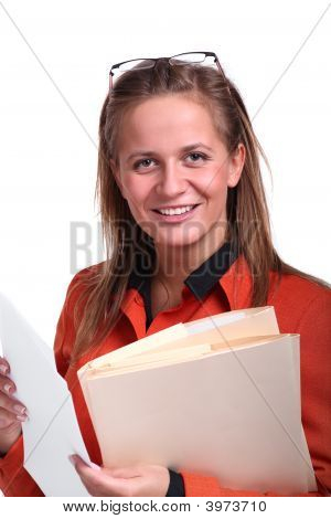 Young Business Woman Holding Files