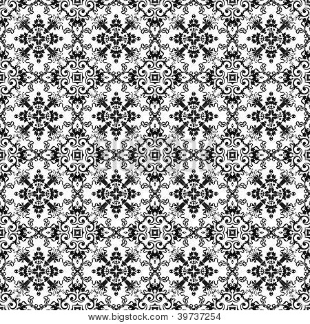 Seamless Black & White Kaleidoscope Damask