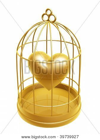 Golden Birdcage And Heart