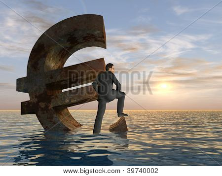 High resolution conceptual 3D currency euro symbol sinking in water,sea or ocean as a concept for European crisis.