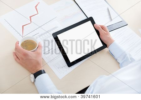 Businessman With Digital Computer