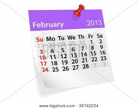 Monthly Calendar For New Year 2013. February