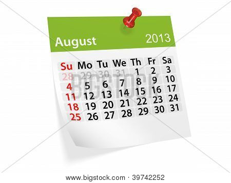 Monthly Calendar For New Year 2013. August