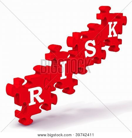 Risk Puzzle Showing Crisis And Problems