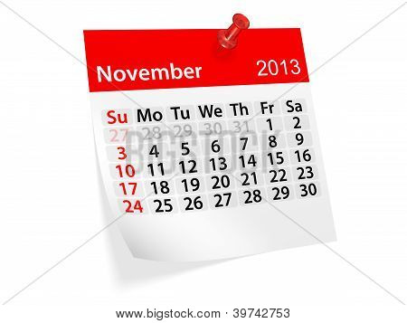 Monthly Calendar For New Year 2013. November