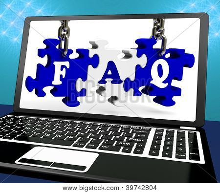Faq Puzzle On Laptop Shows Website Assistance