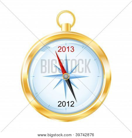 Golden Compass Points To New Year 2013. Vector Illustration