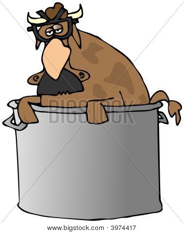 Comedian Cow In A Pot