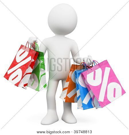 3D White People. Shopping Sales