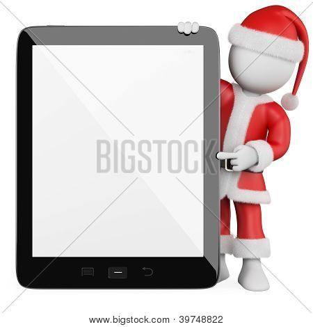 3D White People. Santa Claus With A Blank Tablet
