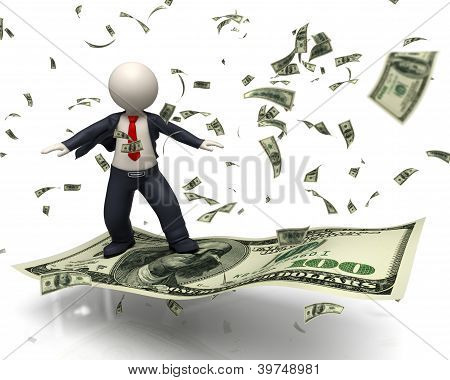 3D Business Man Flying On 100 Us Dollar Banknote