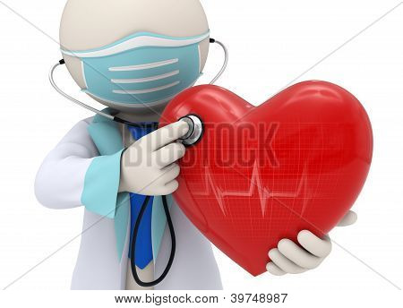 3D Doctor Examining A Heart With A Stethoscope