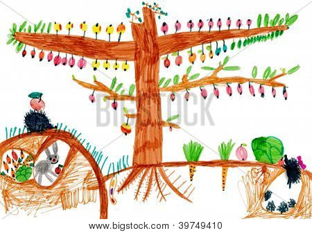 children's drawing. apple tree and animals