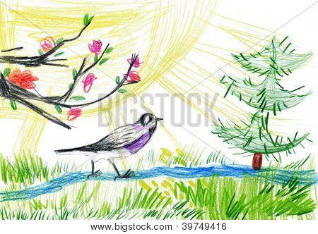 children's drawing. birdie in forest