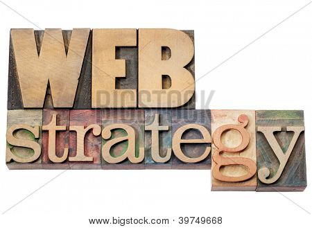 web strategy - isolated text in vintage letterpress wood type blocks
