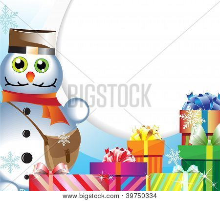 Snowman-postman With Gifts