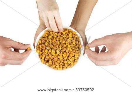 fried corn with hands isolated on a white background