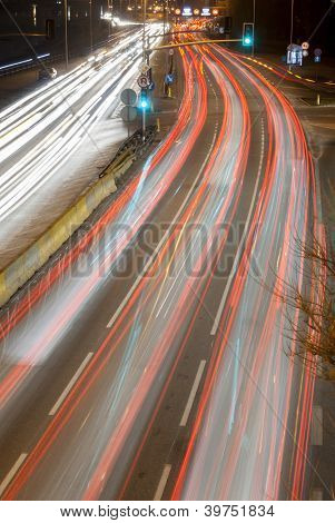 Light Trails On Busy Road.