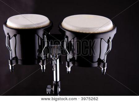 Set Of Bongos Isolated On Black Background