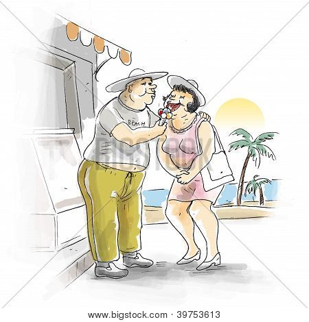 Couple shares ice cream
