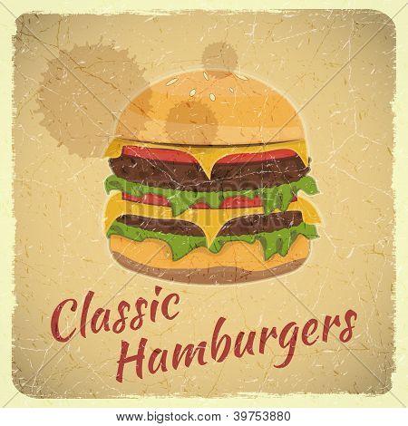 Grunge Cover For Hamburgers Menu
