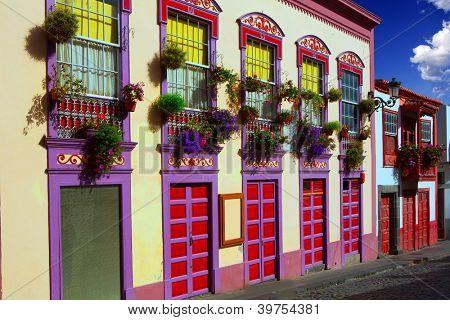 Santa Cruz de La Palma colonial flowers house facades in canary Islands