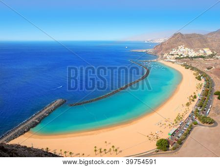 Beach Las Teresitas in Santa cruz de Tenerife north at Canary Islands