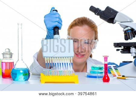 chemical laboratory scientist woman working with multi channel pipette