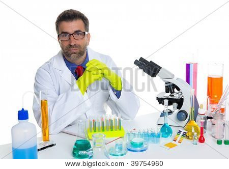 chemical laboratory scientist man working portrait on desk with microscope