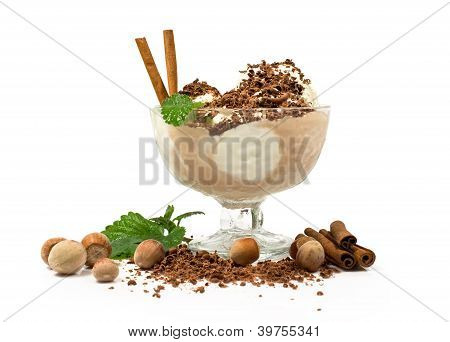 Ice Cream With Nuts, Mint, Cinnamon And Chocolate