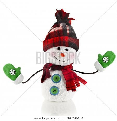 ?heerful Christmas snowman with scarf , mittens and hat , isolated on white background