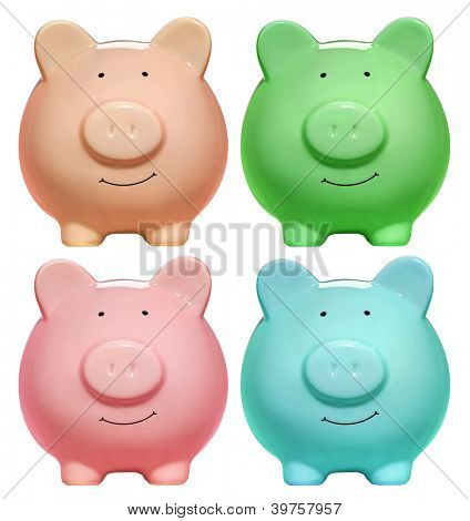 Front view of rainbow piggy banks isolated on white background