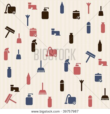 Cleaning house - seamless  pattern