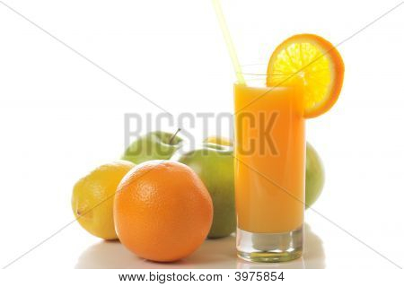 Fresh Juice With Fruits Behind