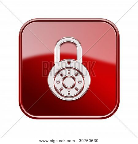Lock Off Icon Glossy Red, Isolated On White Background.