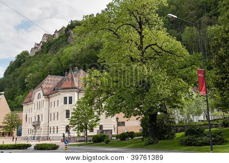 Government Building And Vaduz Castel Above