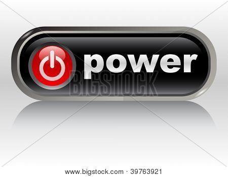 power on - web button, vector