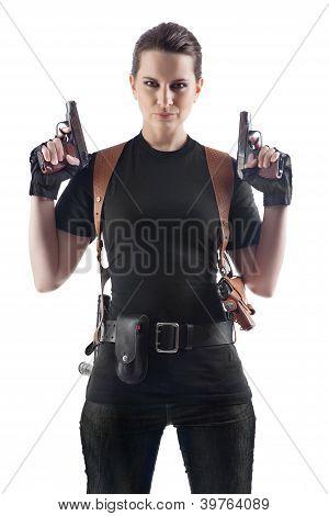 Offizier Frau mit zwei Kanonen