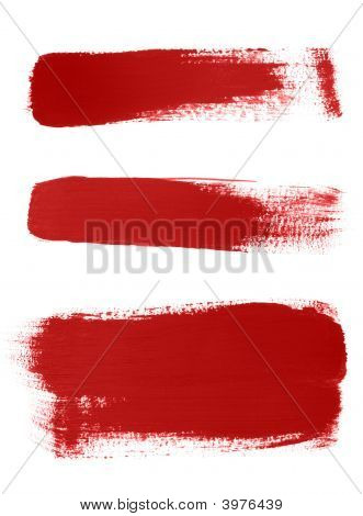 Red Brush Strokes On White Background