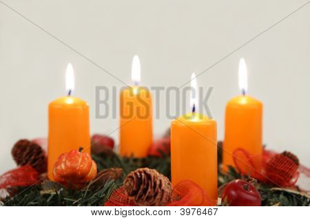 Four Candles On Advent Wreath