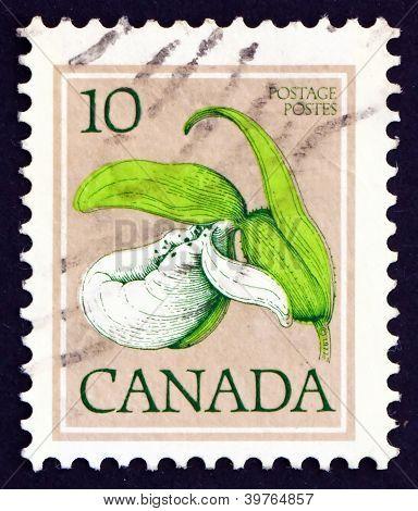 Selo postal Canadá 1977 Franklin da senhora deslizador, orquídea,
