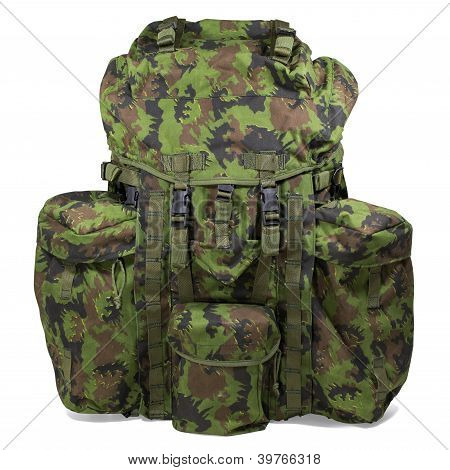 Military Backpack Isolated On White. Clipping Path.