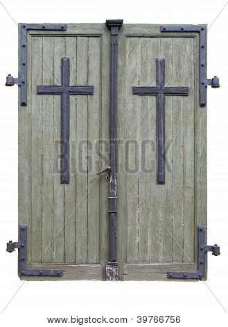 Threadbare Wooden Doors Isolated. Clipping Path