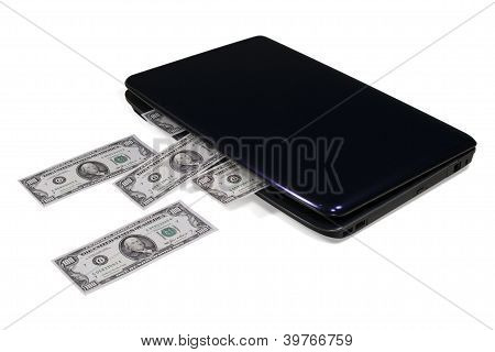 "Electronic Commerce. Laptop ""producing"" Money. Isolated."
