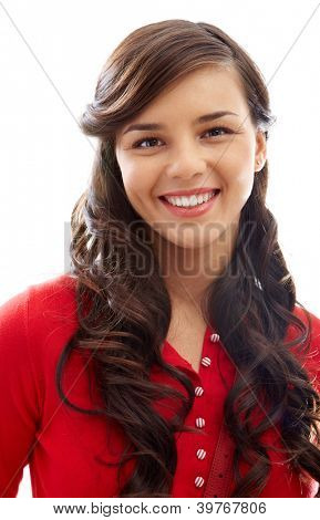 Portrait of happy girl in red pullover looking at camera with smile