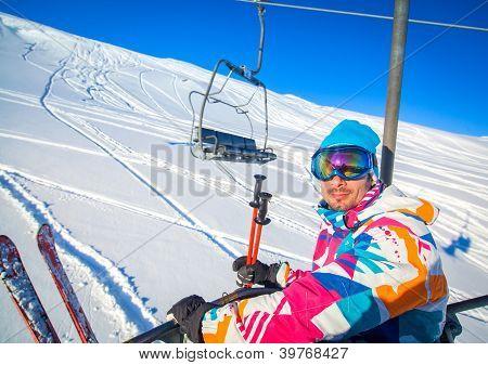 Skier on a ski-lift