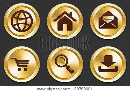 Internet Icons on Gold Button Collection Original Illustration